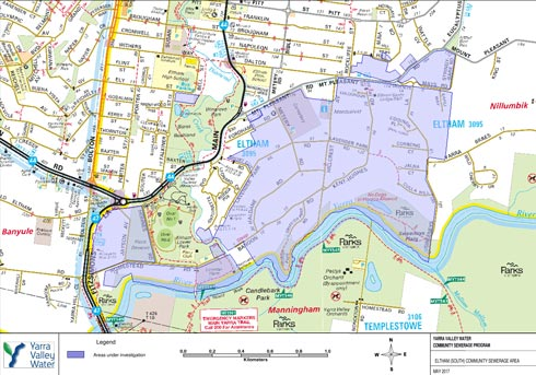 Eltham sewerage project map