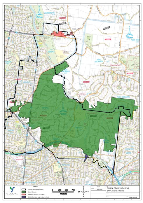 Mitcham Donvale sewerage program map